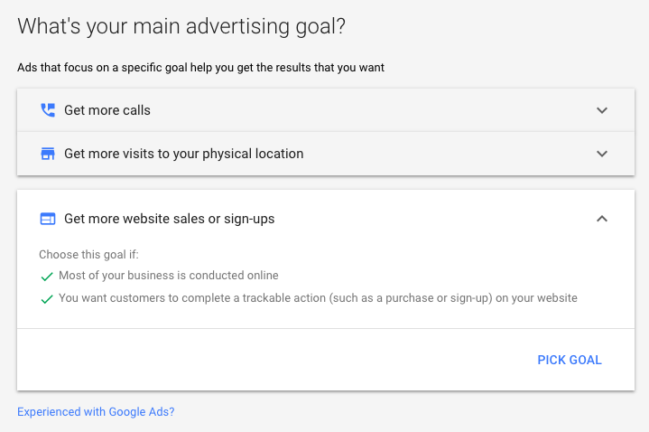 Choose Google Ads Goal