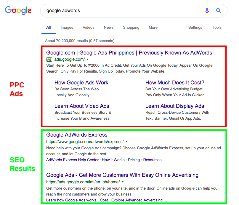 PPC Ads vs SEO Results